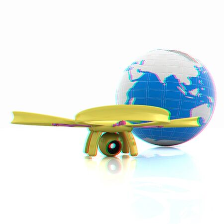 anaglyph: Quadrocopter Drone with Earth Globe and remote controller on a white background. 3d illustration. Anaglyph. View with redcyan glasses to see in 3D.