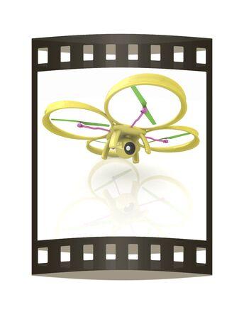 aero: Drone, quadrocopter, with photo camera. 3d render. The film strip