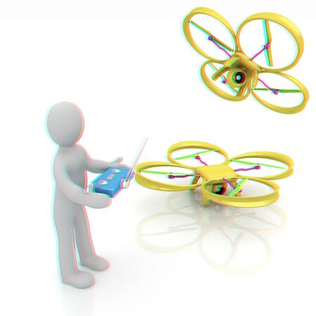 anaglyph: 3d man with drone, quadrocopter, with photo camera. 3d render. 3D render. Anaglyph. View with redcyan glasses to see in 3D.