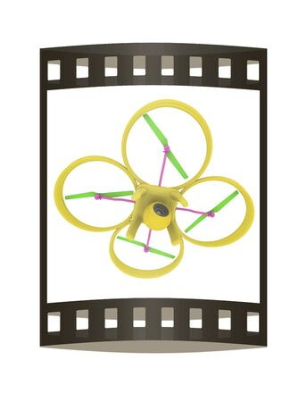 phantom: Drone, quadrocopter, with photo camera flying. 3d render. The film strip Stock Photo