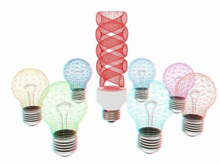 anaglyph: energy-saving lamps. 3D illustration. Anaglyph. View with redcyan glasses to see in 3D.