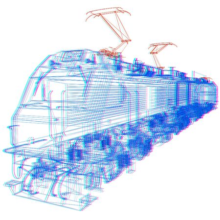 high speed train: train.3D illustration. Anaglyph. View with redcyan glasses to see in 3D. Stock Photo
