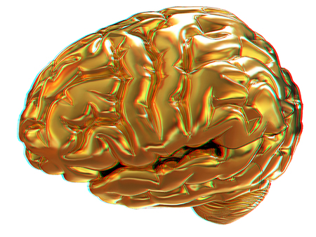 anaglyph: Gold brain. 3d render. Anaglyph. View with redcyan glasses to see in 3D.
