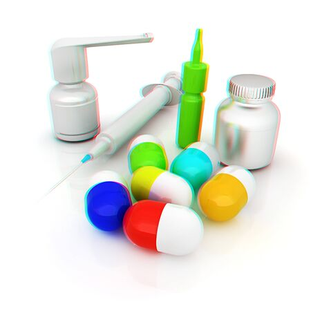 Syringe, tablet, pill jar. 3D illustration. Anaglyph. View with redcyan glasses to see in 3D.