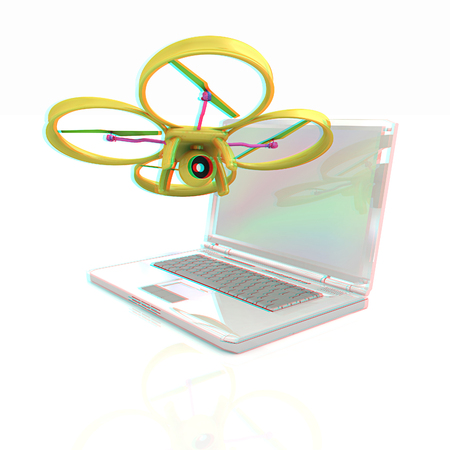 prototyping: Drone and laptop. 3D render. Anaglyph. View with redcyan glasses to see in 3D.