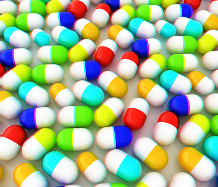 Tablets background. 3D illustration. Anaglyph. View with redcyan glasses to see in 3D.