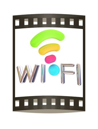 wi: color wifi icon. 3d illustration. The film strip Stock Photo