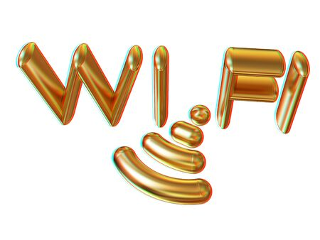 nightspot: Gold wifi icon for new year holidays. 3d illustration. Anaglyph. View with redcyan glasses to see in 3D.