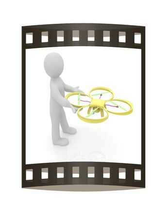 aero: 3d man with drone, quadrocopter, with photo camera. 3d render. 3D render. The film strip