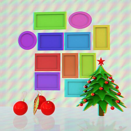 Set of Christmas and New Year frames and Christmas tree. 3D render. Anaglyph. View with redcyan glasses to see in 3D. Stock Photo