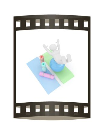 sport mats: 3d man on a karemat with fitness ball. 3D illustration. The film strip Stock Photo