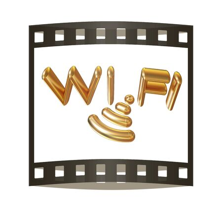 nightspot: Gold wifi icon for new year holidays. 3d illustration. The film strip