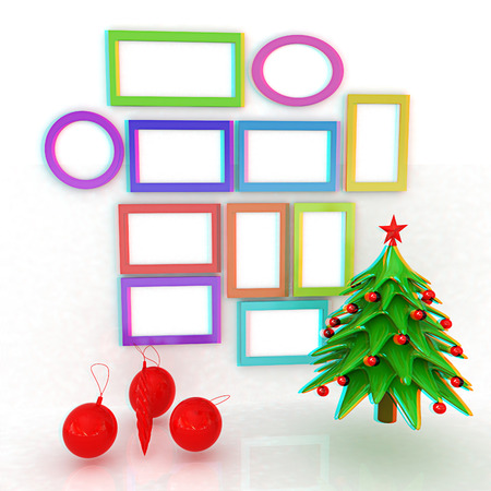 Set Of Christmas And New Year Frames And Christmas Tree. 3D Render ...
