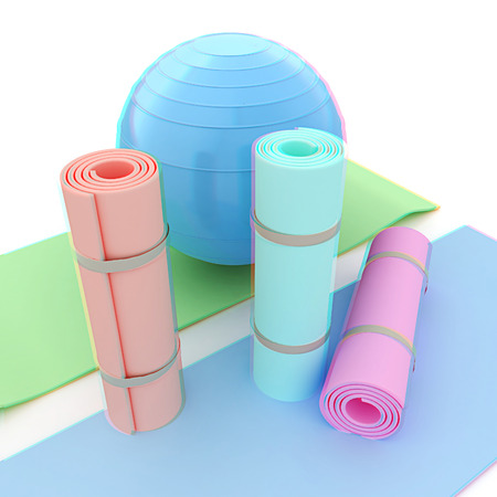 karemat and fitness ball. 3D illustration. Anaglyph. View with redcyan glasses to see in 3D.