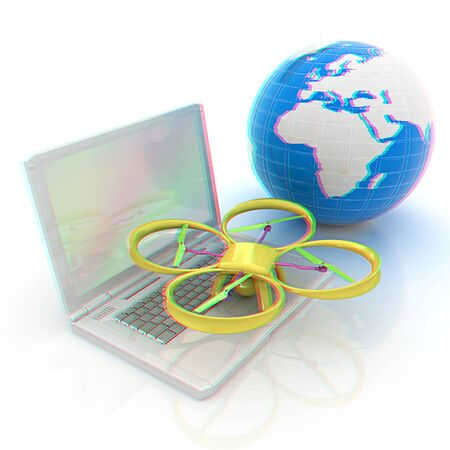 anaglyph: Drone or quadrocopter with camera with laptop. Network, online, buy, internet shopping, smart home. 3d render. Anaglyph. View with redcyan glasses to see in 3D.