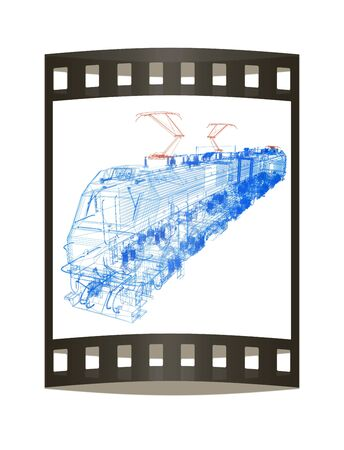 high speed train: train.3D illustration. The film strip Stock Photo