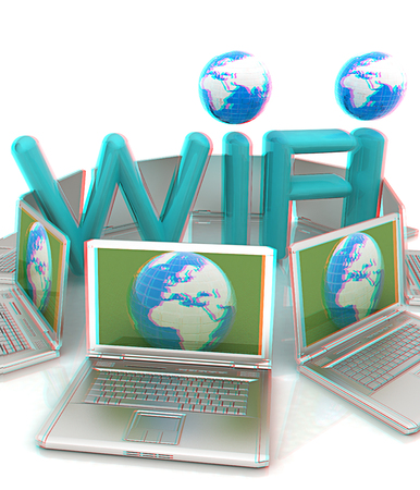 Global concept of  WiFi connectivity between laptops. 3d render. Anaglyph. View with redcyan glasses to see in 3D.