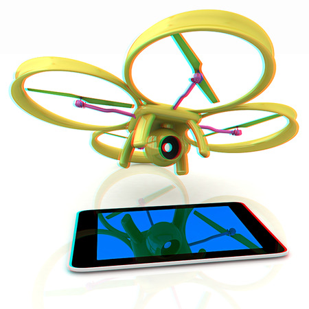 Drone with tablet pc. Anaglyph. View with redcyan glasses to see in 3D. Stock Photo