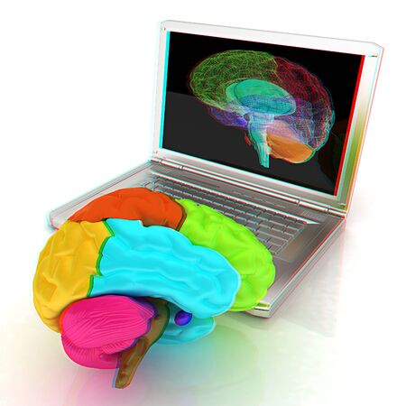 creative three-dimensional model of real human brain and scan on a digital laptop. 3d render. Anaglyph. View with redcyan glasses to see in 3D.