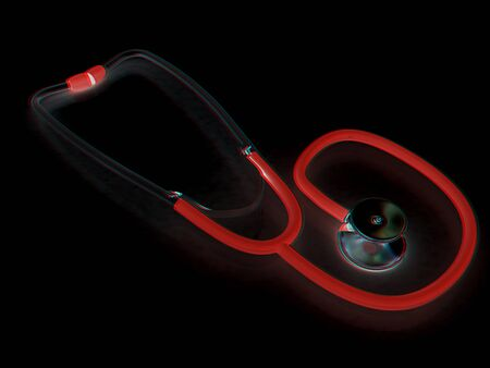 stethoscope. 3d illustration. Anaglyph. View with redcyan glasses to see in 3D.