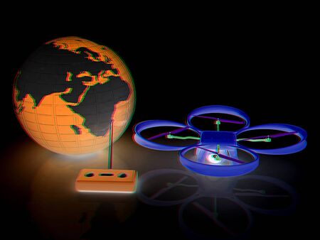 Quadrocopter Drone with Earth Globe and remote controller on a white background. 3d illustration. Anaglyph. View with redcyan glasses to see in 3D.