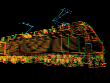 train.3D illustration. Anaglyph. View with redcyan glasses to see in 3D. Stock Photo