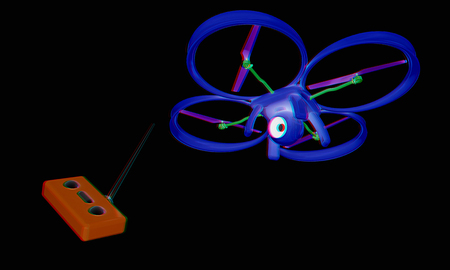 tracking: Drone with remote controller. Anaglyph. View with redcyan glasses to see in 3D.