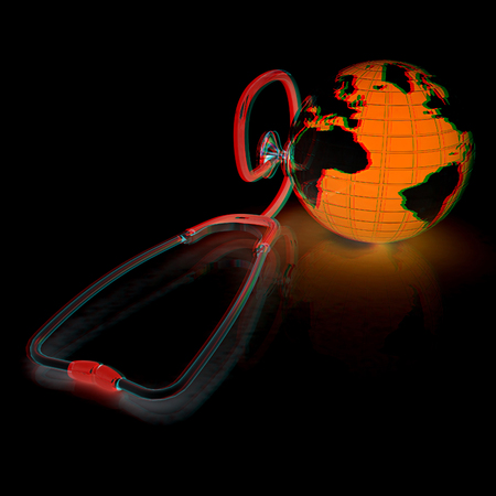 stethoscope and globe.3d illustration. Anaglyph. View with redcyan glasses to see in 3D. Stock Photo