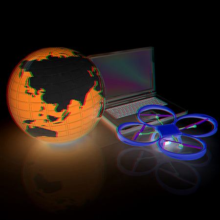laptop repair: Drone or quadrocopter with camera with laptop. Network, online, buy, internet shopping, smart home. 3d render. Anaglyph. View with redcyan glasses to see in 3D.