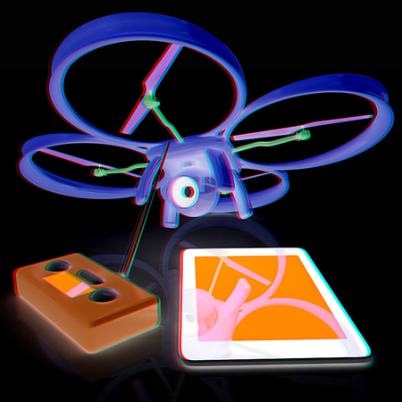 Drone, remote controller and tablet PC. Anaglyph. View with redcyan glasses to see in 3D. Stock Photo