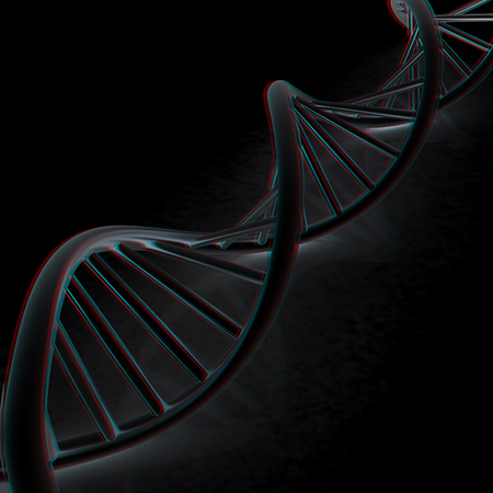 DNA structure model. 3d illustration. Anaglyph. View with redcyan glasses to see in 3D. Stock Photo
