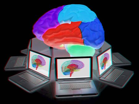Computers connected to central brain. 3d render. Anaglyph. View with redcyan glasses to see in 3D.