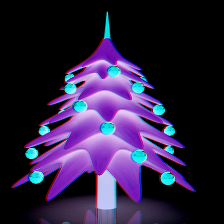 christmas tree 3d illustration anaglyph view with redcyan glasses to see