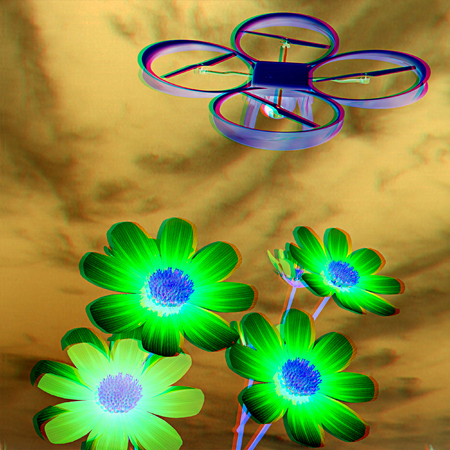 Drone, quadrocopter, with photo camera against the sky and Beautiful Cosmos Flower. 3D illustration. Anaglyph. View with redcyan glasses to see in 3D.