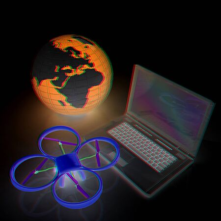 Drone or quadrocopter with camera with laptop. Network, online, buy, internet shopping, smart home. 3d render. Anaglyph. View with redcyan glasses to see in 3D.