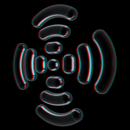 Radio Frequency Identification symbol. 3d illustration. Anaglyph. View with redcyan glasses to see in 3D. Stock Photo