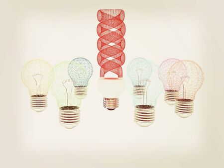 different thinking: energy-saving lamps. 3D illustration Stock Photo