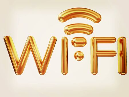 Gold wireless icon for new year holidays. 3d illustration