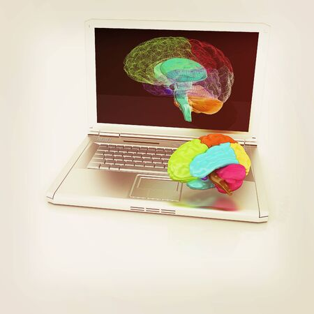 tablet pc in hand: creative three-dimensional model of real human brain and scan on a digital laptop. 3d render