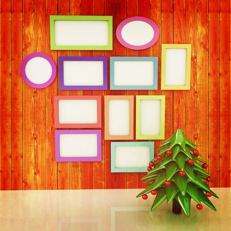fireside: Mock up poster on the wood wall with christmas tree and decorations. 3d illustration