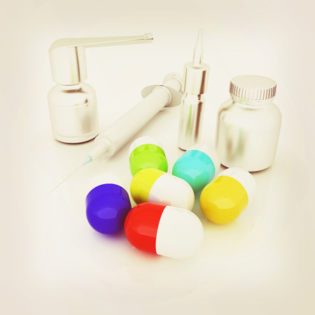 Syringe, tablet, pill jar. 3D illustration Stock Photo