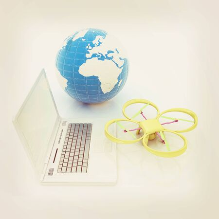 laptop repair: Drone or quadrocopter with camera with laptop. Network, online, buy, internet shopping, smart home. 3d render
