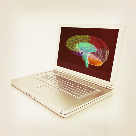 creative three-dimensional model of  human brain scan on a digital laptop. 3d render Stock Photo