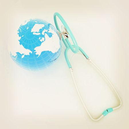 Stethoscope and Earth.3d illustration