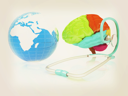 stethoscope, globe, brain - global medical concept. 3d illustration Stock Photo