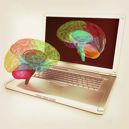 doctor tablet: creative three-dimensional model of real human brain and scan on a digital laptop. 3d render