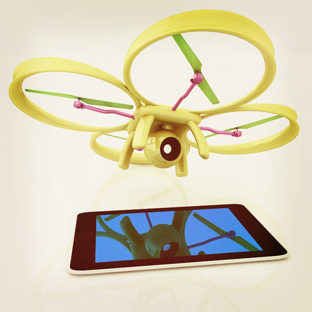 Drone with tablet pc Stock Photo
