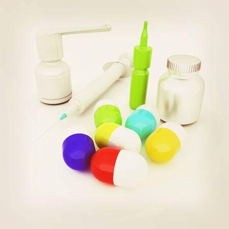 Syringe, tablet, pill jar. 3D illustration Stock Photo