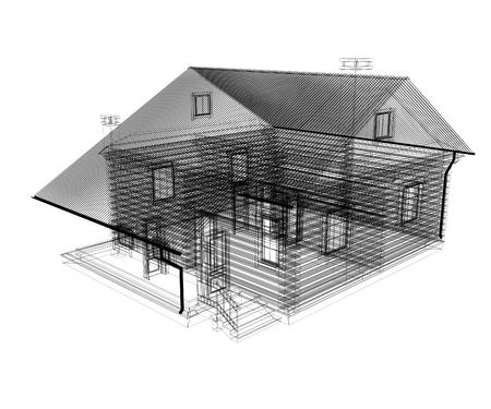 Lijn tekening van huis. 3d illustratie Stockfoto - 77024002