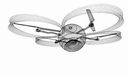 Quadcopter Dron. 3d render Stock Photo